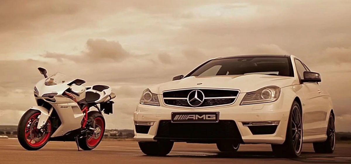 Mercedes C63 AMG Coupe и Ducati 848 EVO
