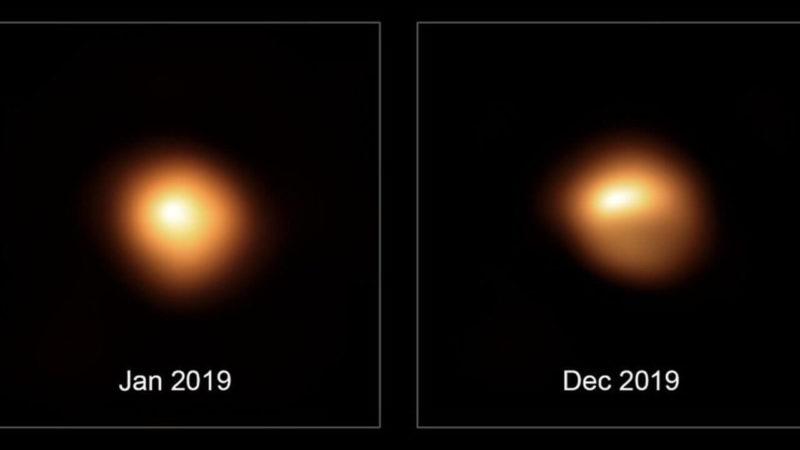 В декабре 2019 года Бетельгейзе очень потускнела по сравнению с январём того же года.